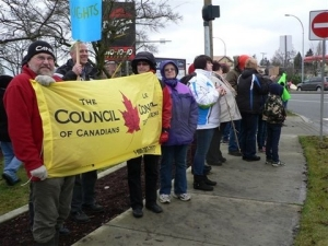 Comox Valley Council of Canadians attend Jan 5 Idle No More rally